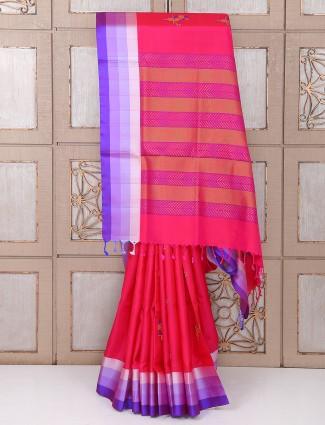 Silk pink festivewear saree