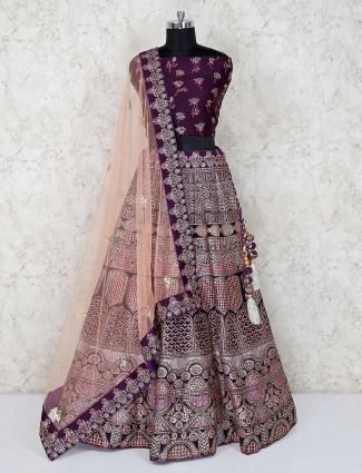 Silk purple bridal wear semi stitched lehenga choli