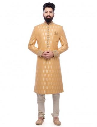2b580530bd Mustard yellow silk designer sherwani - G3-MSH0139 | G3fashion.com