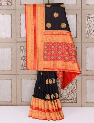 Simple black semi silk saree