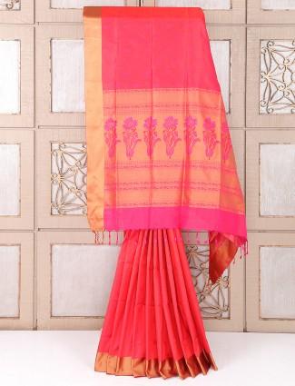 Simple pink color silk saree