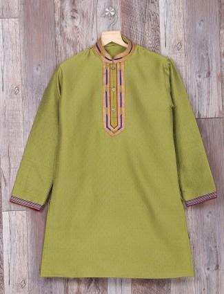 Simple plain green festive wear kurta suit