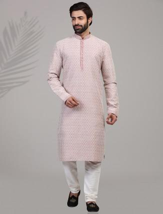 Simple violet kurtaa suit with chikan thread work