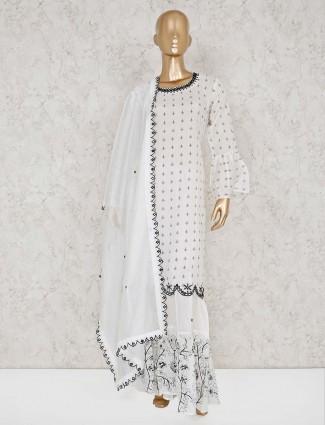 Simple white cotton punjabi sharara suit