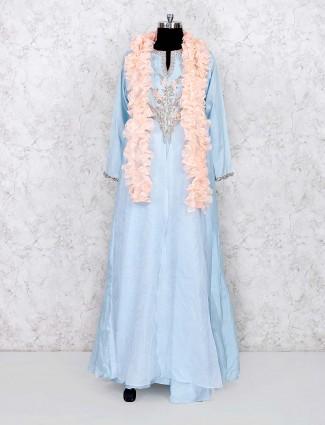 sky blue color floor length cotton salwar suit