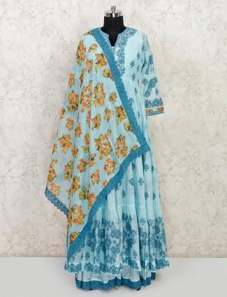 Sky blue cotton floor length anarkali suit for festive