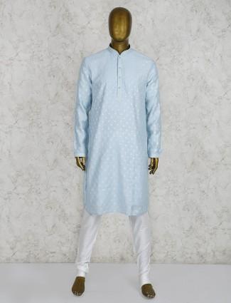 Sky blue cotton party occasion kurta suit