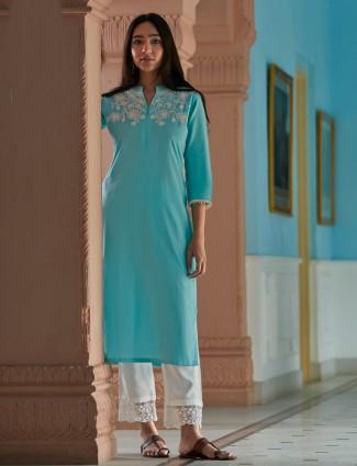 Sky blue cotton punjabi pant suit for festive