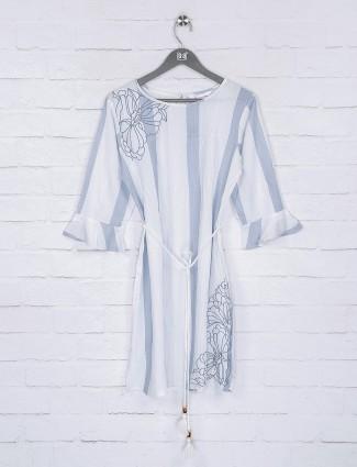 Sky blue cotton quarter sleeves top