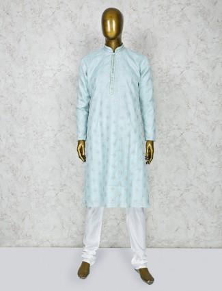Sky blue cotton silk fabric festive wear kurta suit