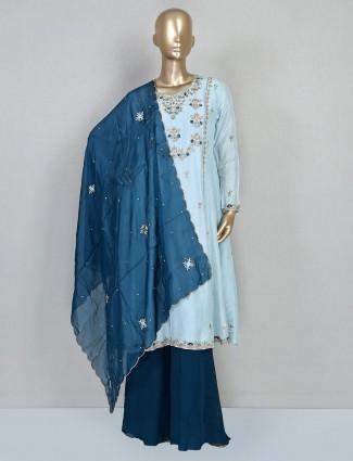 Sky blue cotton silk wedding palazzo suit