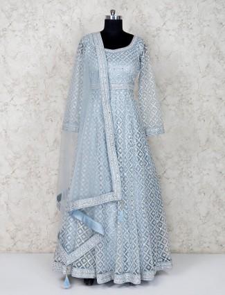 Sky blue floor length anarkali salwar suit in net