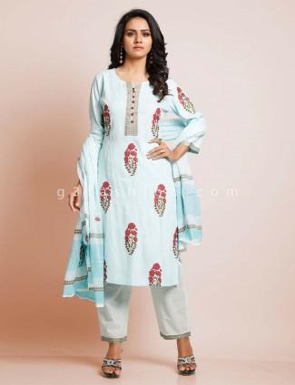 Sky blue palazzo punjabi salwar suit in cotton