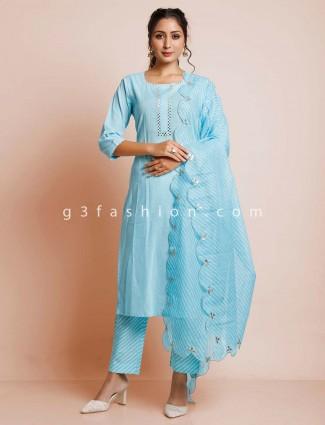 Sky blue pant style salwar suit for festives