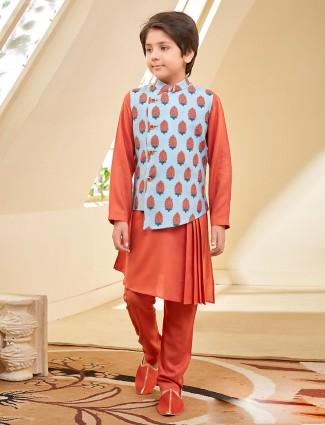 Sky blue and orange printed pattern boys waistcoat set