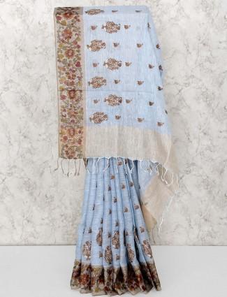 Sky blue saree in linen fabric