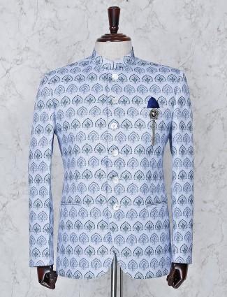 Sky blue terry rayon fabric mens jodhpuri suit
