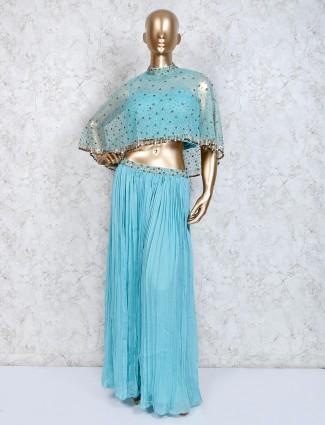 Sky blue tissue designer indo western sharara suit