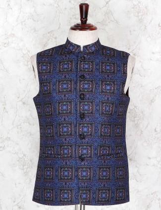 Sleeveless patterm navy printed waistcoat