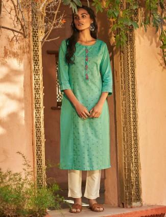 Sober green cotton printed punjabi pant suit