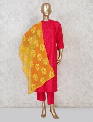 Sober magenta cotton festive punjabi pant suit