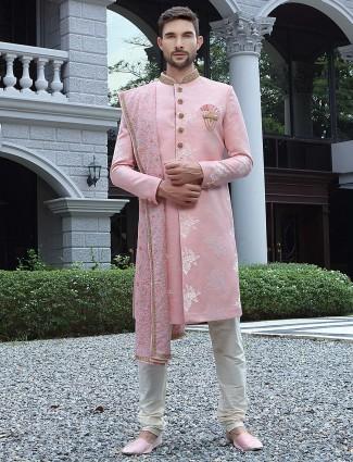 Sober pink color wedding wear raw silk sherawani