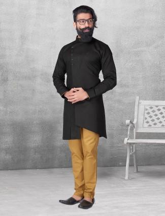 Solid black color kurta suit