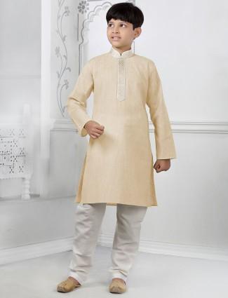 Solid cream cotton kurta suit