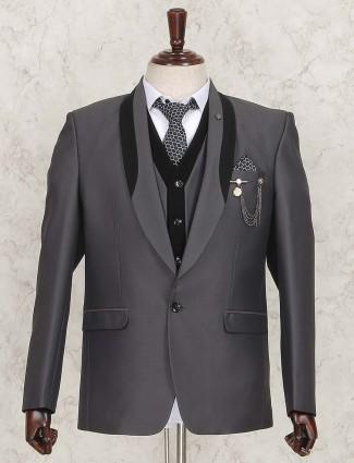 Solid grey three piece coat suit