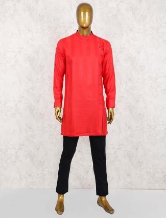 Solid red party wear straight hem kurta suit