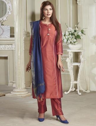 Solid rust orange cotton punjabi salwar suit