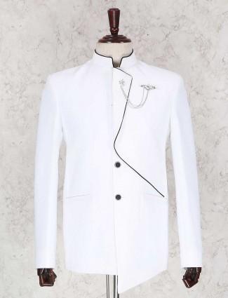 Solid white wedding wear jodhpuri suit