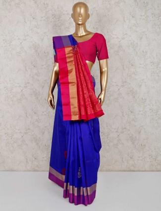 South silk festive royal blue saree