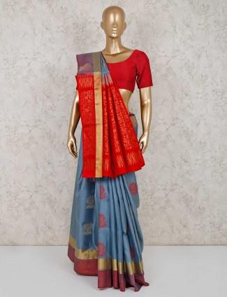 South silk grey colour saree