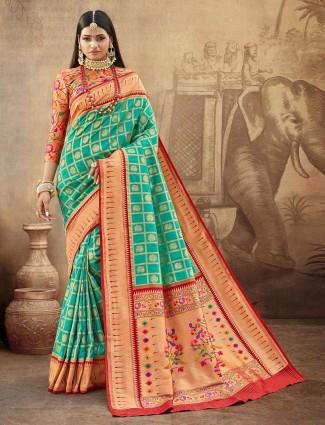 Special aqua banarasi paithani saree for wedding