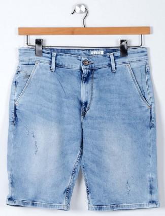 Spykar light blue washed denim shorts