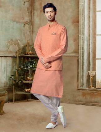 Stand collar peach cotton silk waistcoat set