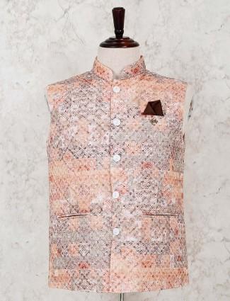 Stand collar peach printed silk waistcoat