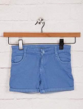 Stilomoda casual wear solid blue shorts