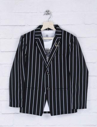 Stripe black color party wear blazer