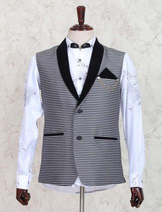 Stripe pattern grey hue terry rayon waistcoat