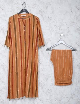 Stripe pattern orange color kurti set