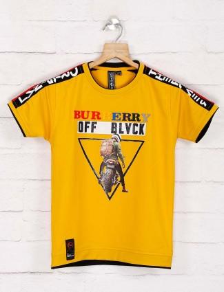 Sturd yellow cotton printed t-shirt