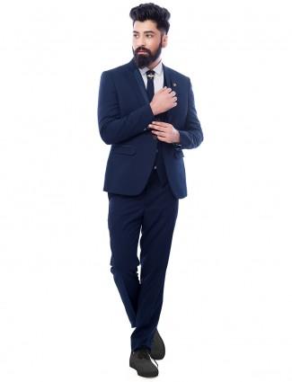 Stylish navy terry rayon designer coat suit