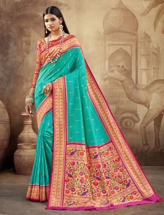 Superb banarasi paithani silk wedding wear saree in maroon