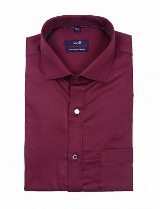 TAG purple solid slim fit shirt