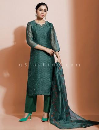 Teal green cotton silk festive kurti set