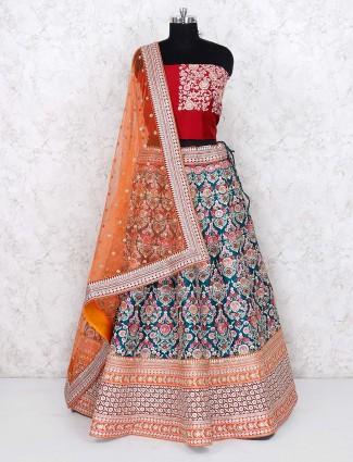 Teal green designer silk semi stitched lehenga choli