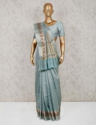 Teal green sari in cotton banarasi silk