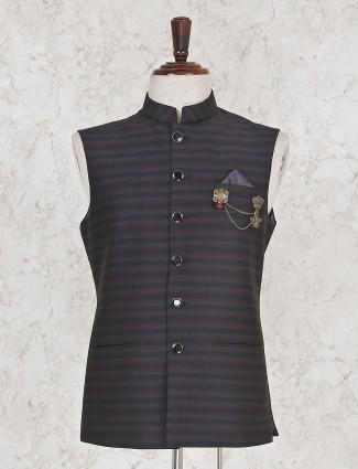 Terry rayon black stripe pattern waistcoat